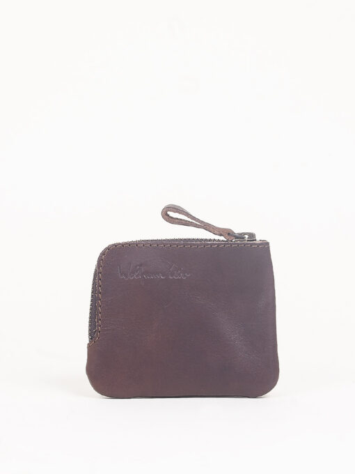 brown leather zip pocket wallet