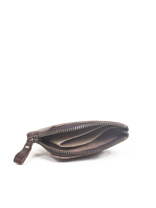 brown zip pocket wallet