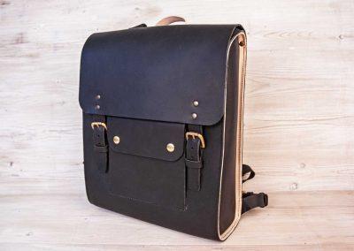 black leather laptop rucksack