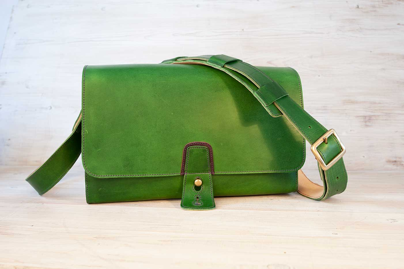Post Satchel Bag green with d brown detail & tan
