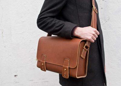leather post shatchel