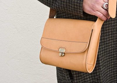 vegetable tanned leather cross body bag